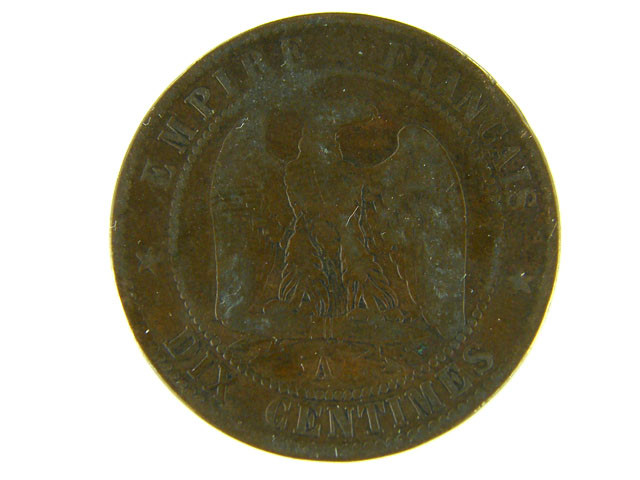 FRANCE LOT 1,  DIX CENT 1862 COIN T602