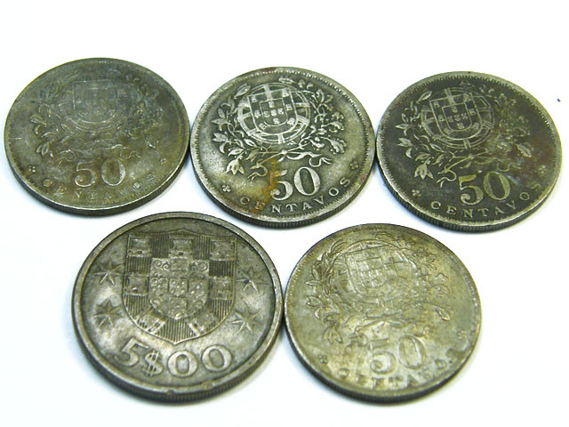 PORTUGAL LOT 5, 4x FIFTY CENTAVOS, FIVE DOLLARS COINS T619