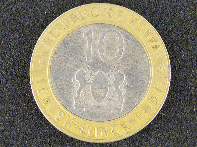KENYA LOT 1, 1997 TEN SHILLING BI-METAL COIN T638