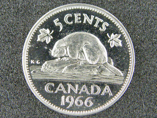 CANADA LOT 1, UNC FIVE CENT 1966 COIN T639