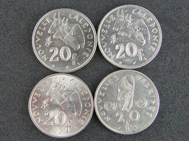 POLYNESIA LOT 4, TWENTY F 1967-1977 COIN T650