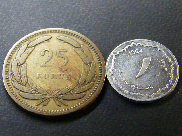 TURKEY LOT 2, 1956 TWENTY-FIVE KURUS, 1964 COIN T667