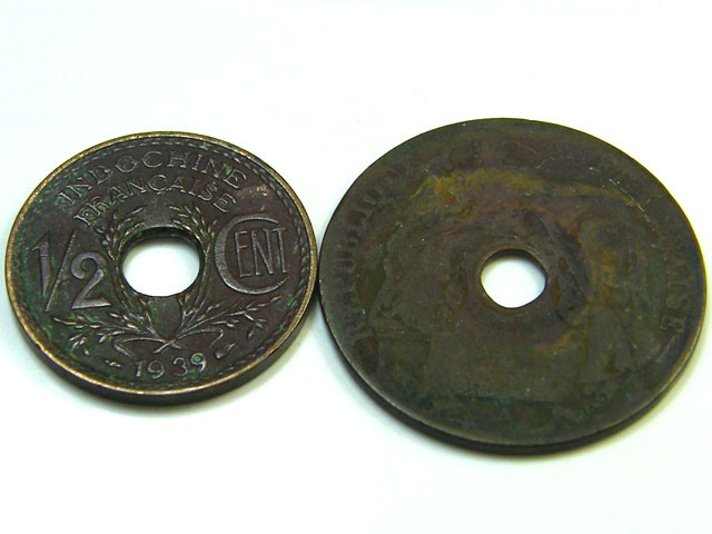 INDO CHINA LOT 2,  1/2 CENT, ONE CENT 1912- 1939 COIN T682