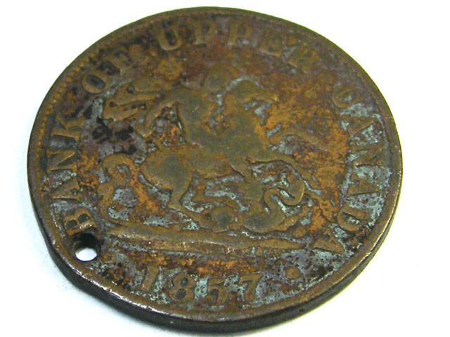 TOKIN LOT 1, ONE HALF PENNY BANK TOKIN 1857 COIN T689
