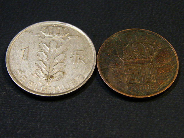 BELIGUM LOT 2, 1953 FIFTY CENT, ONE FRANC COINS T690