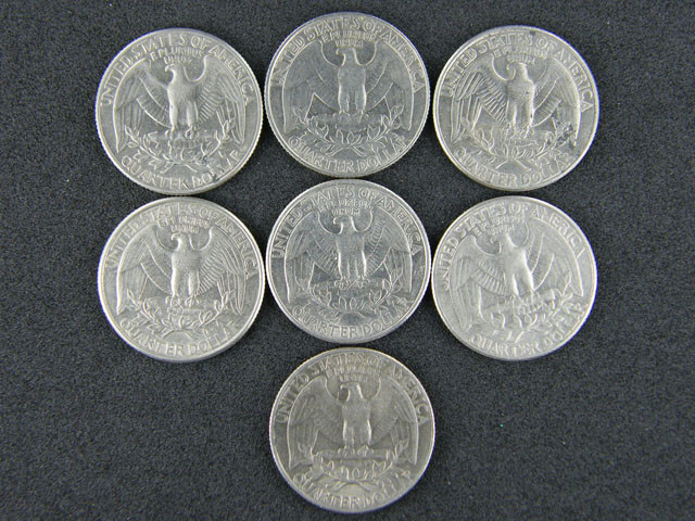 USA LOT 7,  1990-1995 QUARTER DOLLAR COINS T700