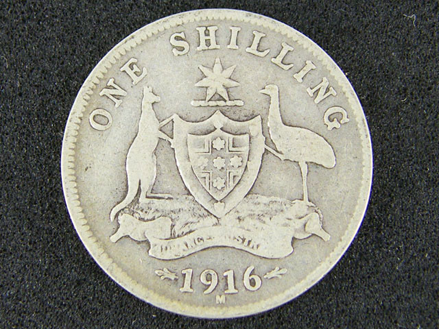 AUSTRALIA LOT 1, 1916 ONE SHILLING COIN 925   SILVER T737