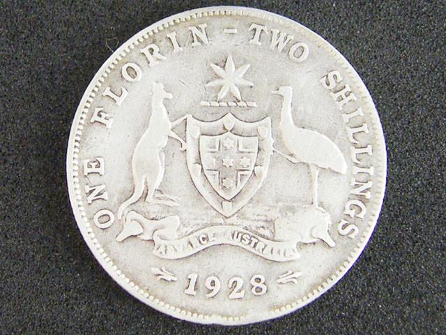 AUSTRALIA LOT 1, ONE FLORIN 1925 COIN    925 SILVER  T742