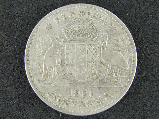 AUSTRALIA LOT 1, 1951 FLORIN COIN   50%  SILVER T749