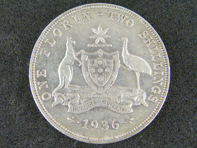 AUSTRALIA LOT 1, FLORIN 1936 COIN   925 SILVER  T771