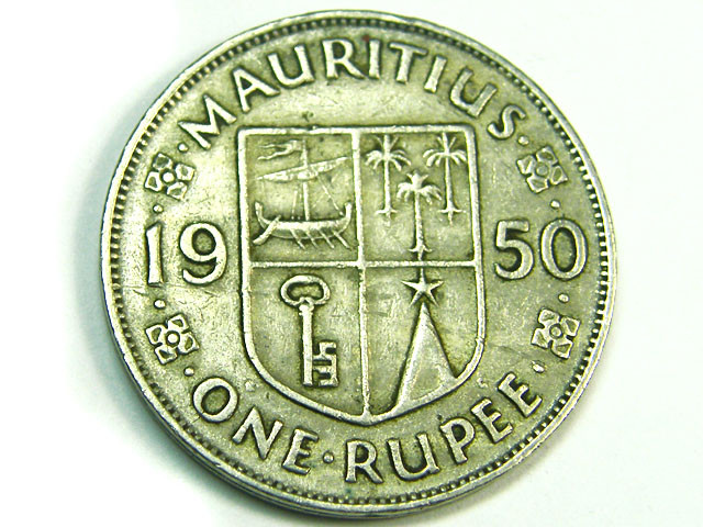 MAURITIUS LOT 1, 1950 ONE RUPEE COIN T798