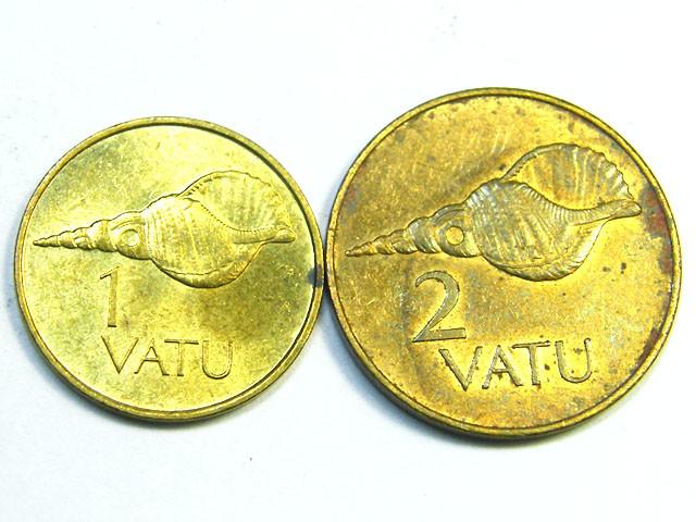 VANUATU LOT 2, 1990 1 VATU, 1983 2 VATU COINS T805
