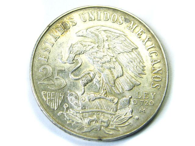 SILVER MEXICO 1968  25 C   ,  COIN T809