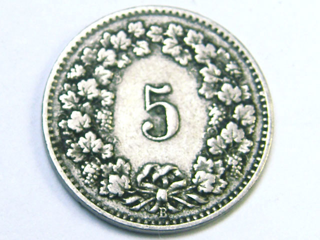 1910 SWITZ ERLAND,  5 C COIN T816