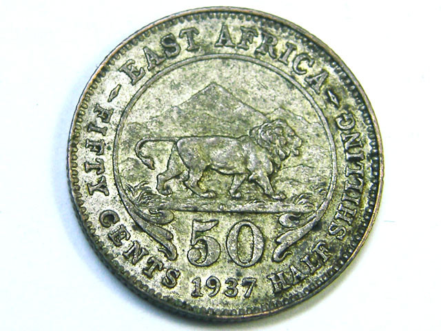EAST AFRICA 1937  50 CENTS    ,  COIN T 820