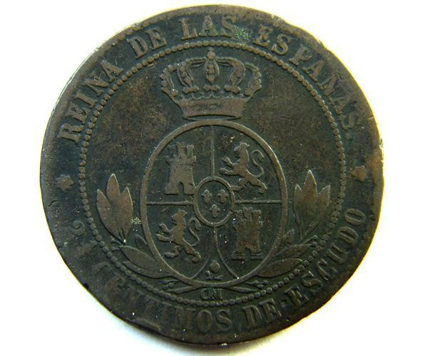 SPAIN COIN    2 1/5 CENTS   1868   OP 340