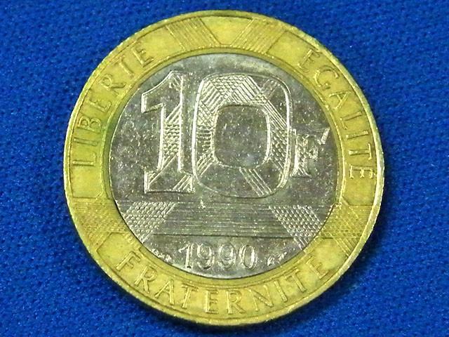 FRANCE L1, 1990 BI-METAL TEN FRANC COIN T893