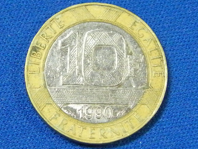 FRANCE L1, 1990 BI-METAL TEN FRANC COIN T898