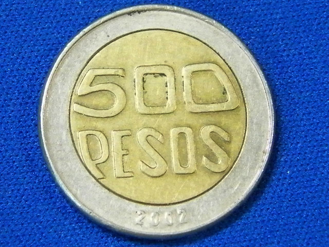 COLOMBIA L1,2002 BI-METAL 500 PESOS COIN T902