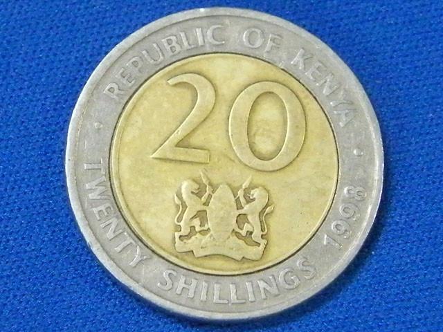 KENYA L1, 1998 BI-METAL TWENTY CENT COIN T912
