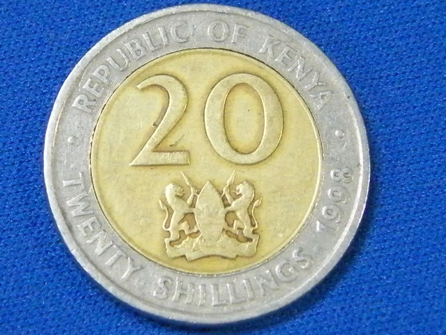 KENYA L1, 1998 BI-METAL TWENTY CENT COIN T914