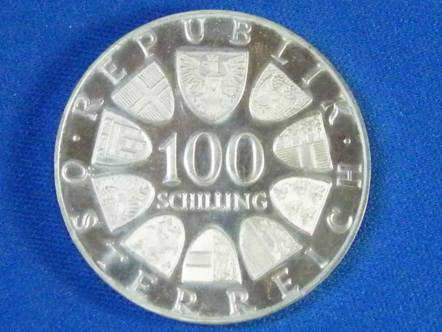 AUSTRIA L1, UNC ONE HUNDRED SCHILLING 1976 COIN T932