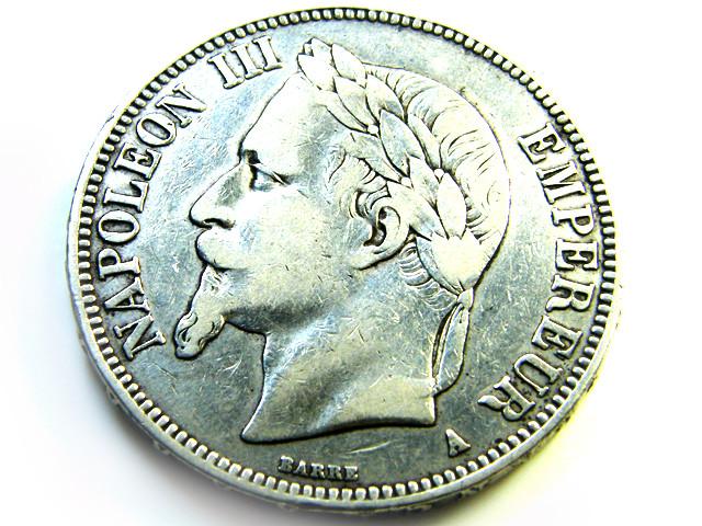 FRANCE L1, 1869 FIVE FRANC COIN T934
