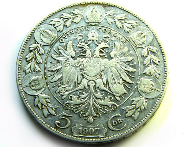 AUSTRIA L1, FIVE CORONA 1907 SILVER COIN T942