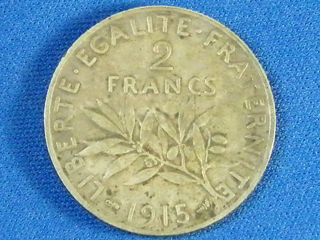 FRANCE L1, 1915 TWO FRANC.825 SILVER  COIN T943