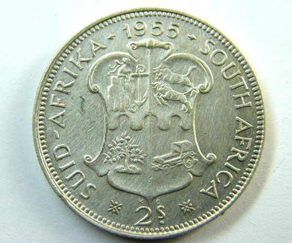 SOUTH AFRICA   COIN  2 SH    1955 OP 351