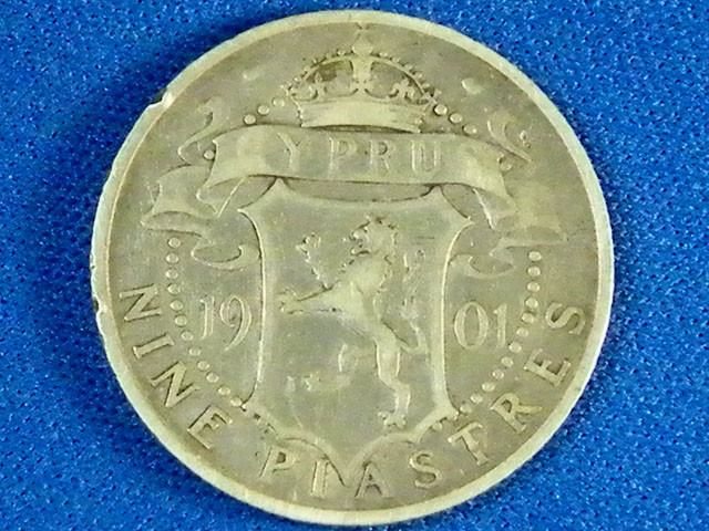CYPRUS L1, 1901 NINE PIASTRES COIN T957