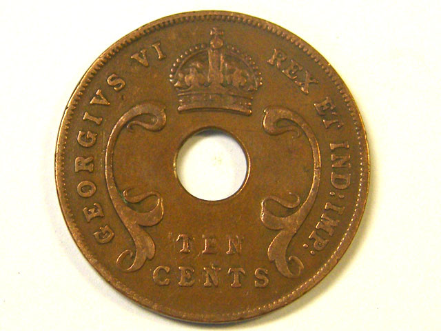 EAST AFRICA L1, TEN CENT 1941 COIN T965