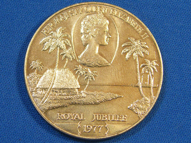 WESTERN SAMOA L1, ONE DOLLAR ROYAL JUBLIEE 1977 COIN T993