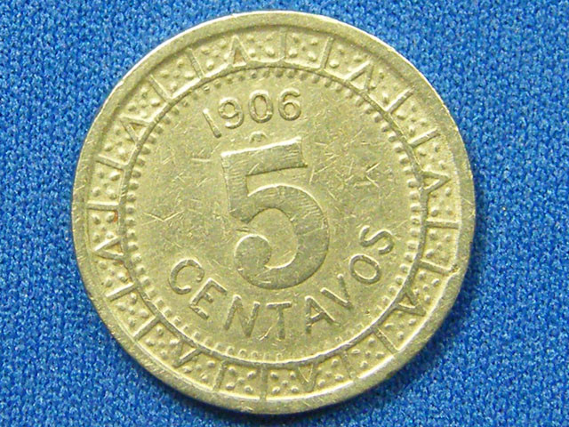 MEXICO COIN L1, 1906 FIVE CENTAVOS COIN T1090