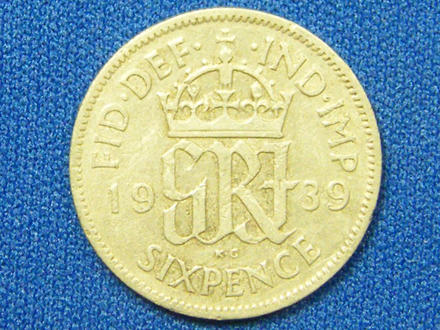 GREAT BRITIAN COIN L1, 1939 SIXPENCE COIN T1111