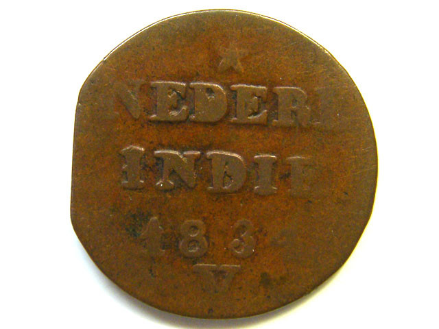 NETHERLAND INDIES COIN L1, 1834 TWO CENT COIN T1121