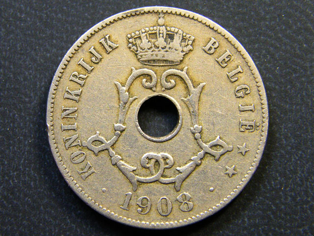 BELGIUM COIN L1, 1908 TWENTY FIVE CENTIMES COIN T1142