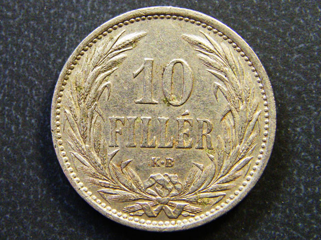 HUNGARY COIN L1, 1908 TEN FILLER COIN T1146