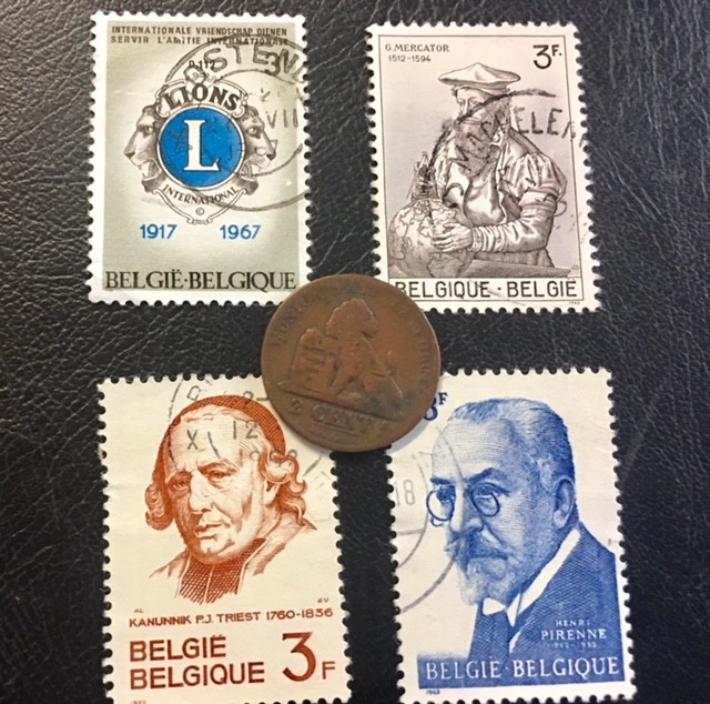 BELGIUM COIN L1, 1870 TWO CENTIMES COIN  plus stamps T1158