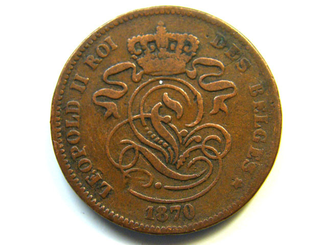 BELGIUM COIN L1, 1870 TWO CENTIMES COIN T1158