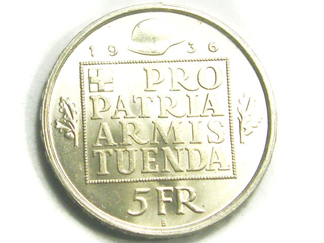 SWITZERLAND COIN L1, 1936 FIVE FRANC COIN T1225