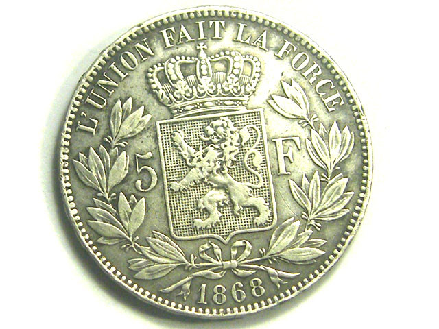 BELGUIM COIN L1, 1868 FIVE FRANC COIN T1226