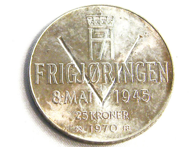 NORWAY COIN L1, 1970 TWENTY-FIVE KRONER SILVER COIN T1248