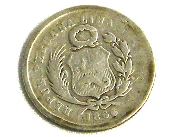 PERU COIN L1, 1866 ONE DINERO SILVER COIN T1257