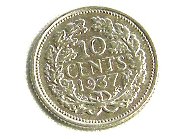 NETHERLAND EAST INDIES COIN L1, 1937 10C SILVER COIN T1256