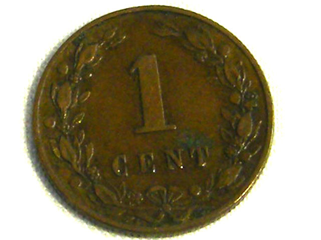NETHERLANDS COIN L1, 1884 ONE CENT COIN T1269