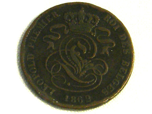 BELGIUM COIN L1, 1862 TWO CENT COIN T1270