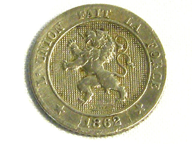 BELGIUM COIN L1, 1862 FIVE CENT COIN T1275
