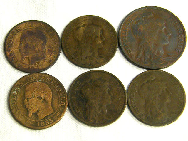 FRANCE COIN L6, 1857 10, 5 FRANCS & ONE CENT COINS T1278