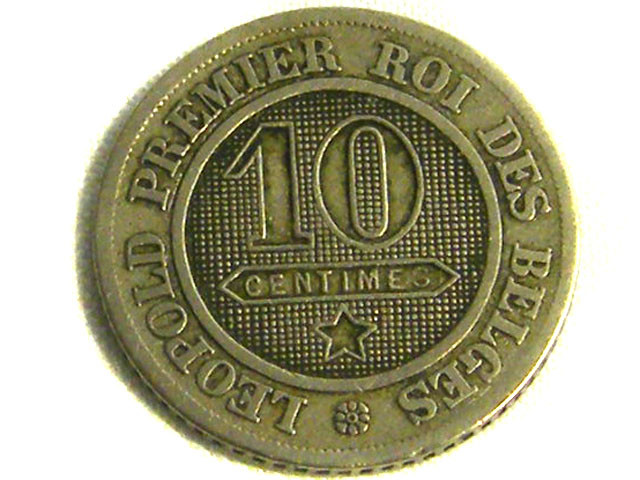 BELGIUM COIN L1, 1861 TEN CENT COIN T1285